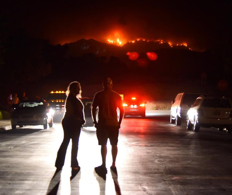 Whittier fire flareup causes concern on South Coast, because flames were visible Thursday night