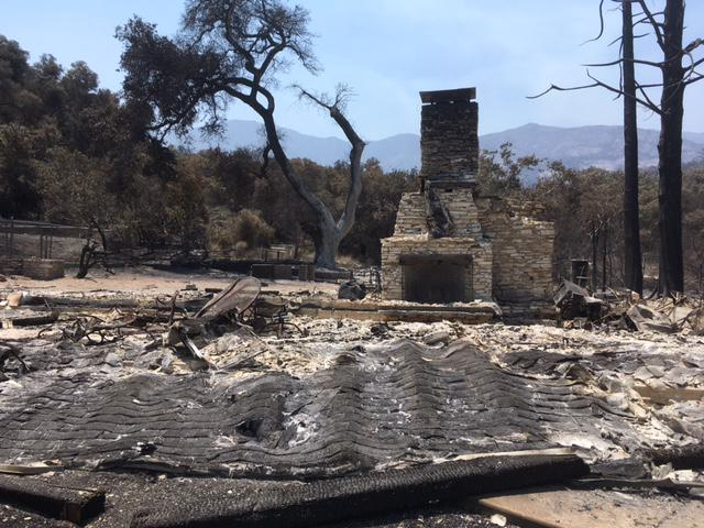 A home south of Highway 154 in the Santa Ynez Valley destroyed by the Whittier Fire