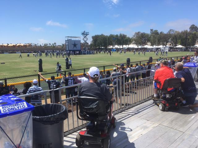 The Cowboys workouts are taking place on two practice fields next to an Oxnard hotel complex where the teams stays