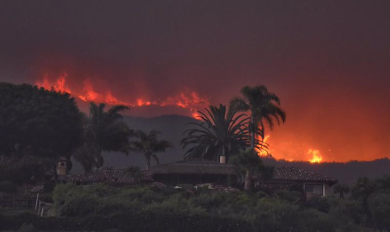 The Whittier Fire flared up northwest of Goleta.  These are the flames in the El Capitan area