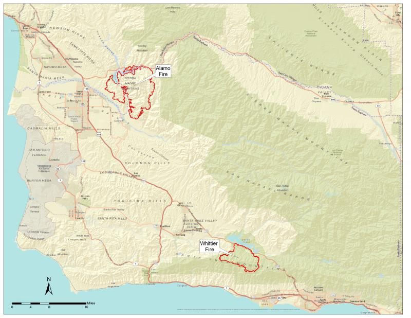 Tuesday night map with latest boundaries on Alamo, Whittier brush fires