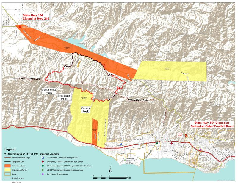 Wednesday afternoon map with latest information on Santa Barbara County's Whittier brush fire