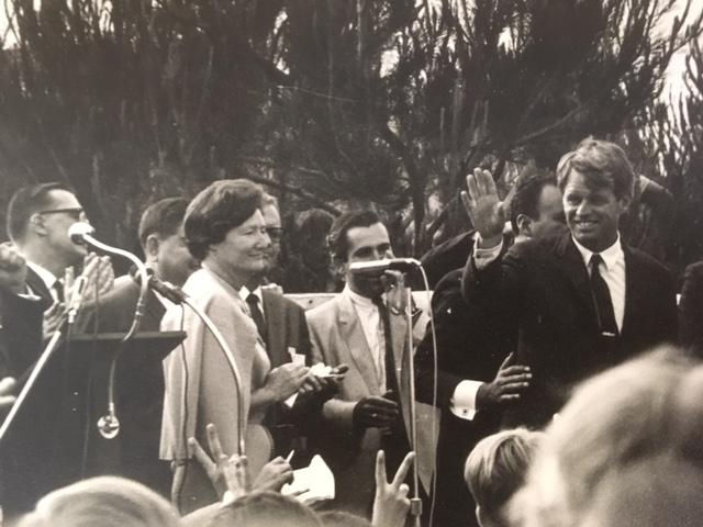 The donations includes some rare photographs of a campaign rally for Senator Robert F. Kennedy in Oxnard the day before he was assasinated in Los Angeles.  The rally was hosted by Jane Tolmach (left) a longtime Ventura County Democratic party leader