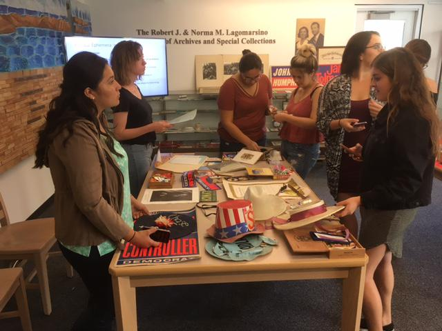 Cal State Channel Islands students sort though huge collection of political memoribilia donated to university