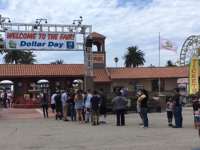 People lined up at Seaside Park in Ventura Tuesday to get discount admission and ride tickets for the 2017 Ventura County Fair, which opens Wednesday