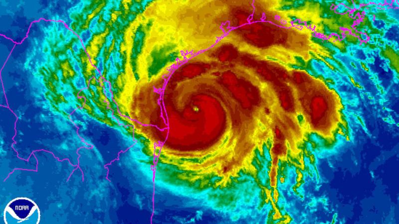 An infrared image of Hurricane Harvey from midday Friday shows the intense rain associated with the system