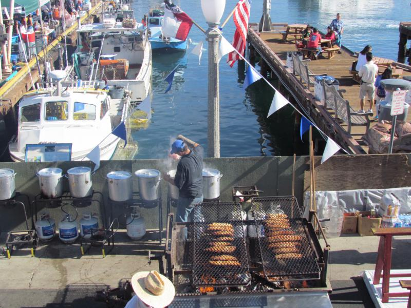 Cooking up fresh seafood at a past Santa Barbara Harbor and Seafood Festival
