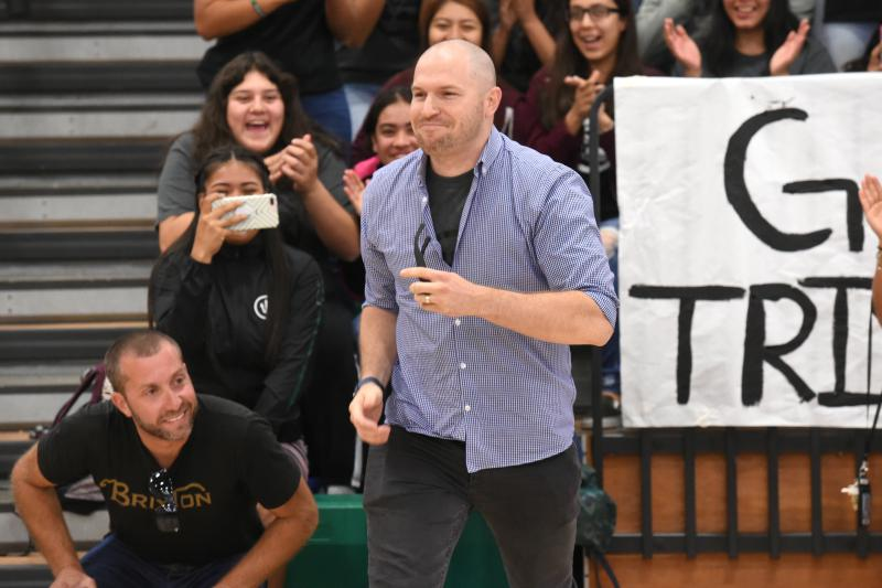 Pacifica High School teacher Aaron Ferguson finds out he's been awarded a 2017 Miken Award, which includes $25,000 in cash