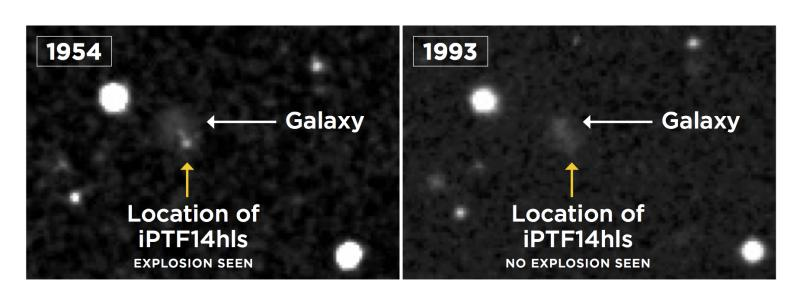 An image taken by the Palomar Observatory Sky Survey reveals a possible explosion in the year 1954 at the location of the supernova (left), not seen in a later image taken in 1993 (right). Supernovas are known to explode only once.