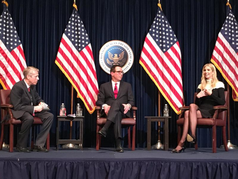 The Reagan Library's John Hebusch (left) with Treasury Secretary Steven Mnuchin and presidential advisor Ivanka Trump Sunday night
