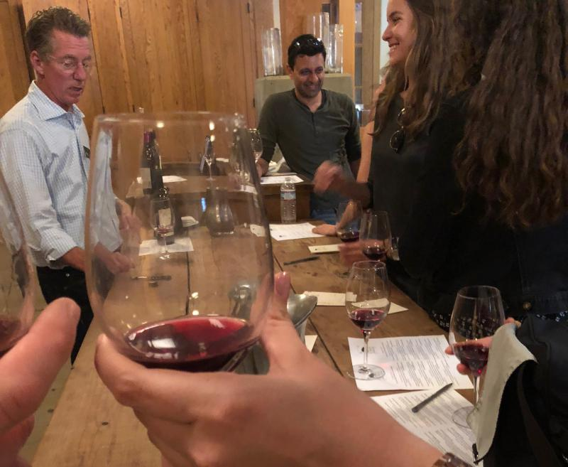 Roblar Winery Tasting Room Manager Billy Kissel adds a comedic, and often R rated twist to tastings, making his back room events popular in the Santa Ynez Valley.