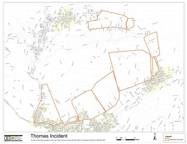 Map of areas affected by the Thomas Fire