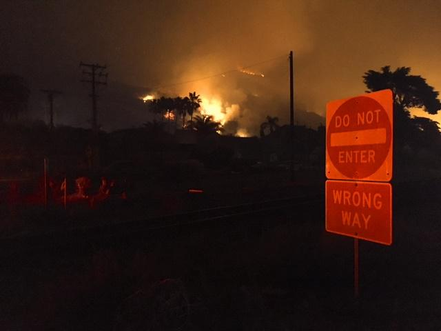 Flames from the Thomas fire near La Conchita