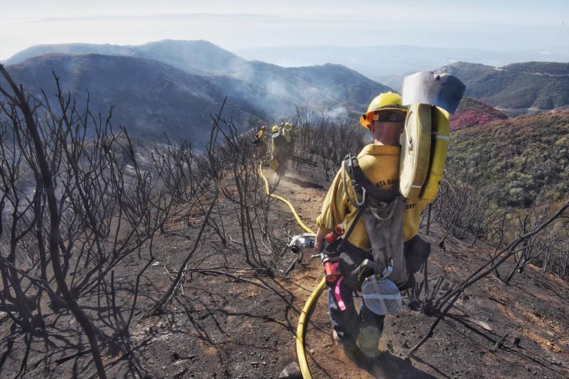 A Santa Barbara County firefighter in the foothills above Santa Barbara December 19th
