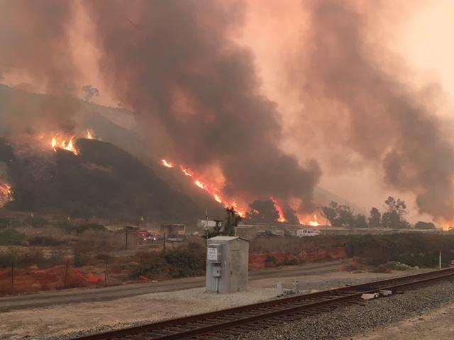 Flames south of La Conchita Thursday morning