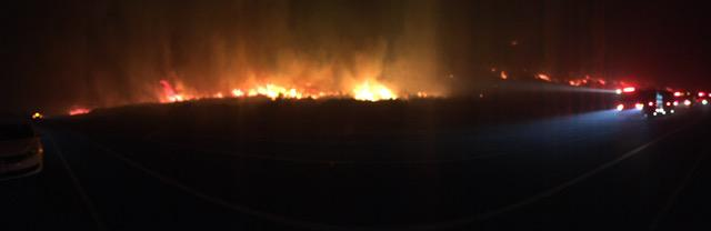 A sea of flames along Highway 101 between Ventura and Santa Barbara