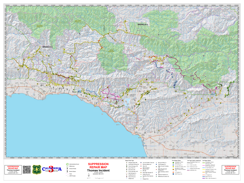 Thursday Thomas fire map from U.S. Forest Service