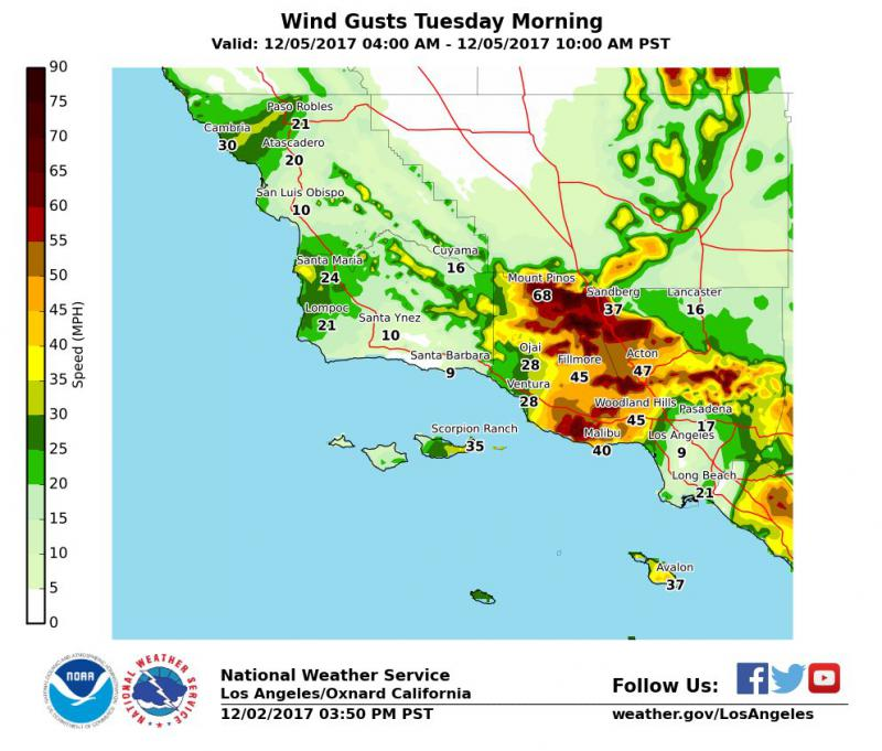 Latest National Weather Service wind projections for Ventura County as of 9:30 Monday night