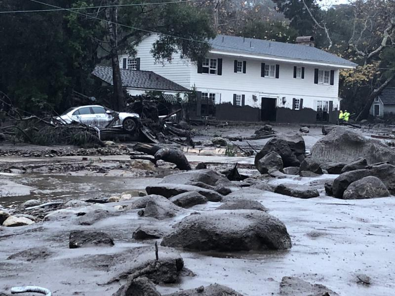 Some of the widespread flooding in Montecito Tuesday