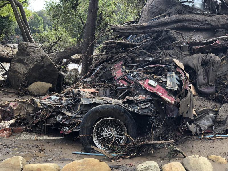 Some of the debris from Tuesday's deadly flash flood and mudslide in Montecito