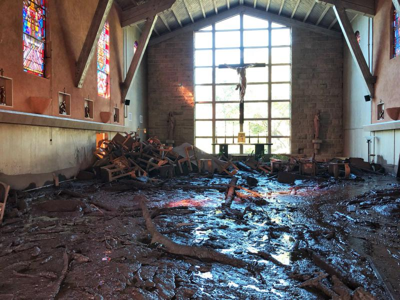 Massive mud flow fills the La Casa de Maria chapel in Montecito