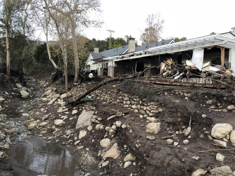 A home in the East Valley Road area, near Montecito Creek, gutted by Tuesday's flooding