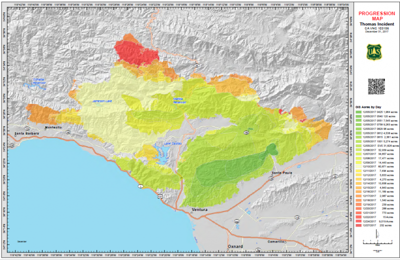 Map shows progression of Thomas Fire