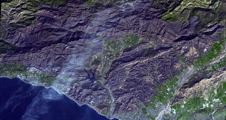 Satellite imagery of Thomas Fire