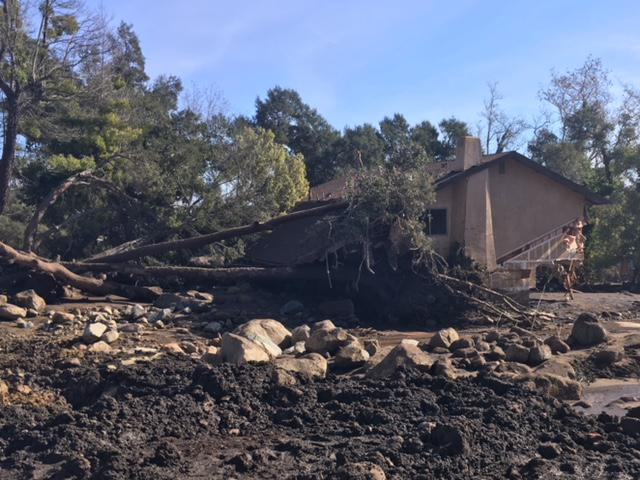 One of the many damaged homes off of East Valley Road east of the Montecito Village area