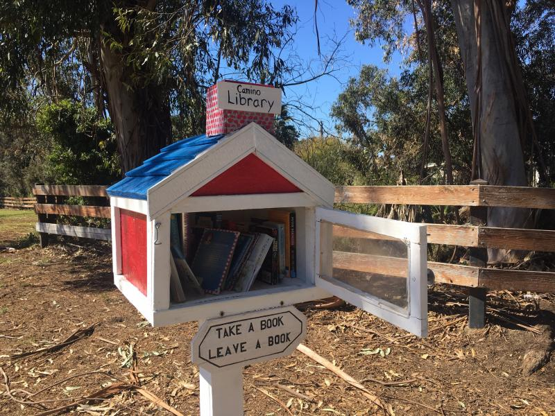 Little Free Library at the entrance to Camino Real Park in Ventura