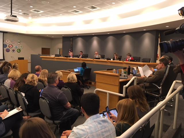 Hundreds of people packed the Conejo Valley School Board's meeting Tuesday night, as the four members present unanimously voted to censure board member Mike Dunn for e-mails he had sent to people in the community