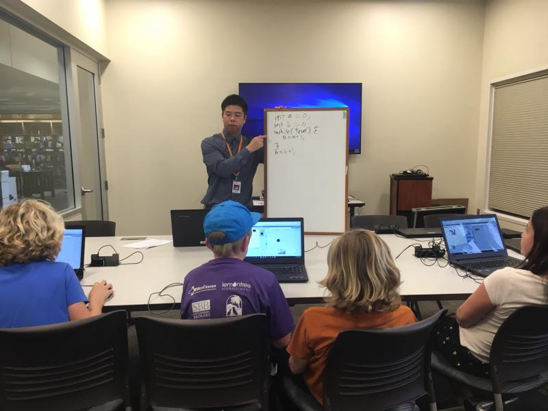 Computer science instructor Leon Yen teaches the kids an algorithm that they need to use to create their video games