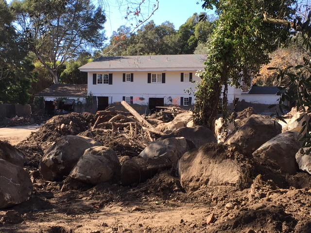 One of the many homes hit by the 1/9 debris flow in Montecito