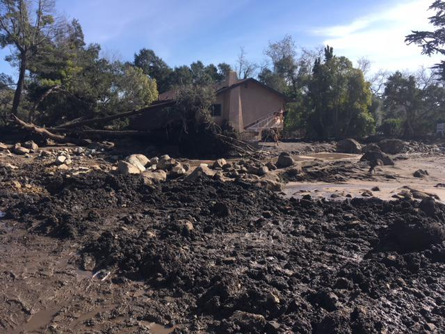 One of the many damaged homes in Montecito