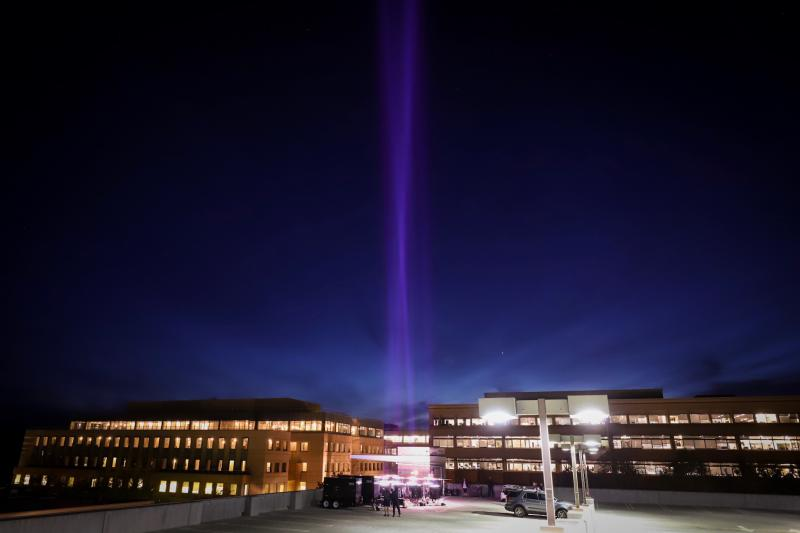 Beam of light from Amgen in Thousand Oaks for multiple myeloma awareness