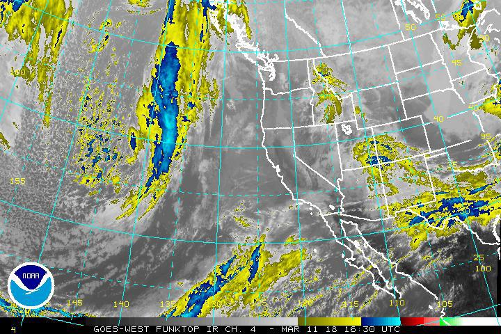 Latest mixed infrared/satellite images of storm leaving West Coast