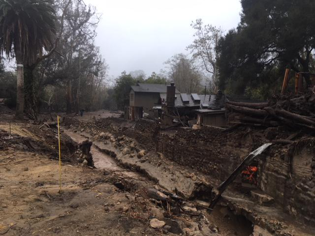 A creek crossing Montecito's East Valley Road caused heavy damage in the January 9th storm, but there were no flooding or debris flow problems with this week's Thursday/Friday storm