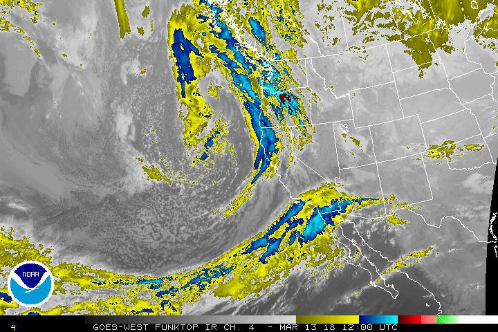 West Coast satellite image as of Tuesday morning