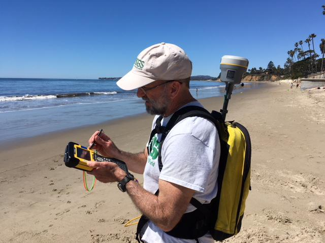 USGS researcher, and Project Lead Daniel Hoover mapping Butterfly Beach in Montecito