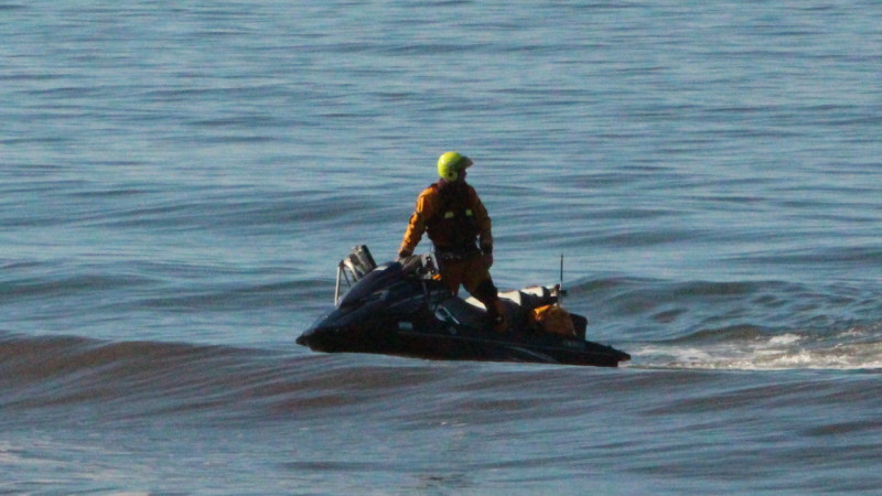 The scientists are using jet skis as part of the beach mapping operation