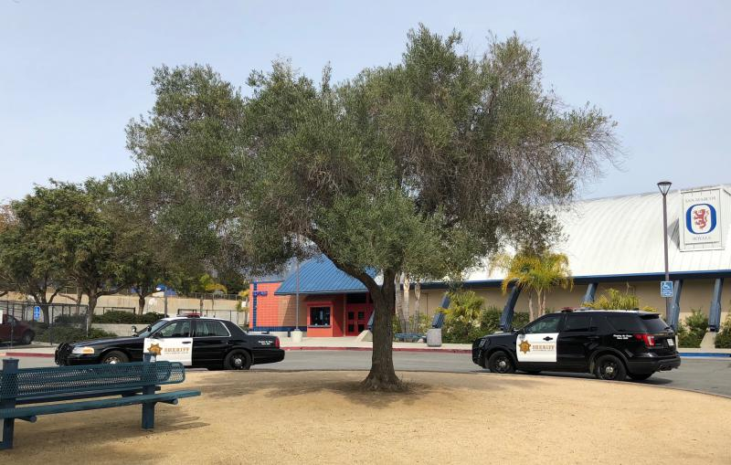 The law enforcement presence was beefed up at Goleta's San Marcos High School this week in the wake of graffit threats of violence