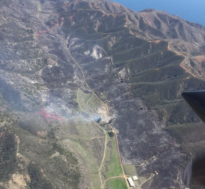 Aerial view of Santa Cruz Island Fire.  Containment at 60%, with 250 acres burned