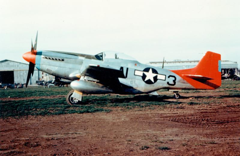 One of the famous red-tailed P-51 fighters flown by the Tuskegee Airmen