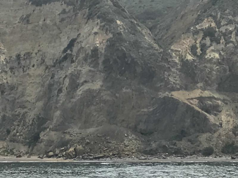 The earthquake triggered some small landslides on Santa Cruz Island