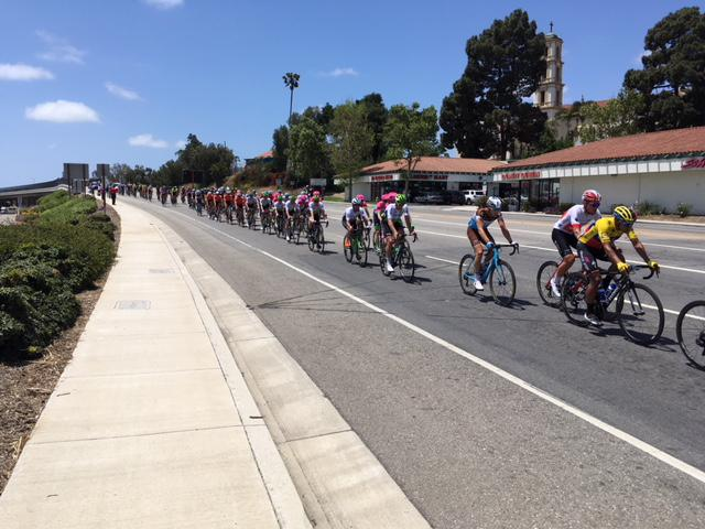 Amgen riders on 97.5 mile long second stage of race