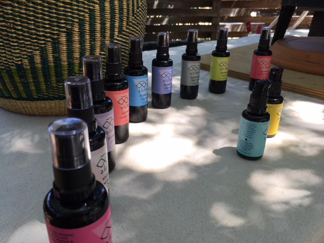 Some of the different scented hydrolsols made from plants offered by OO AH Alchemy