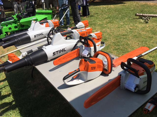 Some of the new generation of electric landscaping tools purchased by the City of Ojai, as it dumps gas powered devices