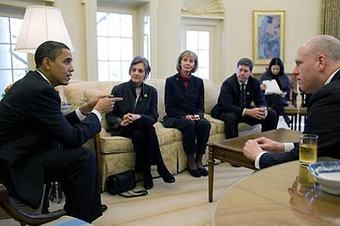 President Obama with legislators, including Democratic Congresswoman Lois Capps of Santa Barbara (third from left)