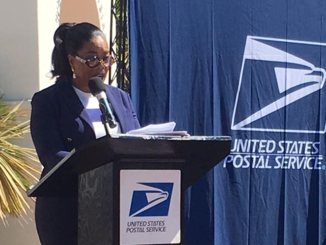 "Oprah Winfrey speaks at ""First Responders"" stamp unveiling in Montecito"