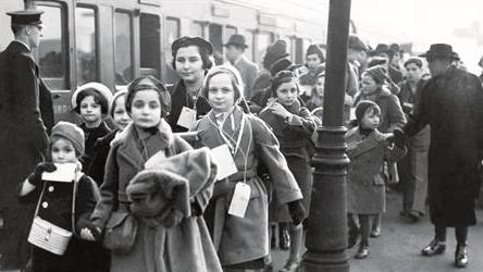 Some of the children in the Kindertransport arrive in London from Berlin